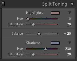 Lightroom Split Toning