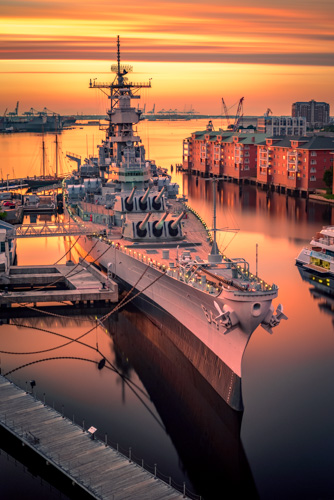 Sunset over a Battleship